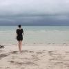 Yo, caminando por el mar, Isla Holbox, Mexico,...